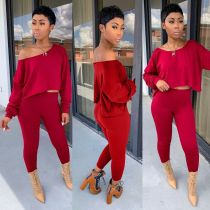 Fall New Off-Shoulder Sexy Casual Solid Color Two Piece Set YFS-902