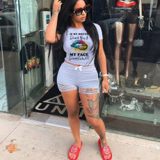 Lips Print T Shirt And Shorts Two Piece Sets WAF-7032