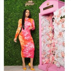 Flower Print Long Sleeve Slim Long Dress YIS-510