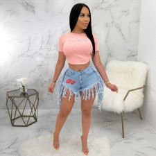 Plus Size Denim Embroidery Lips Tassel Jeans Shorts HSF-2276