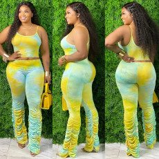 Plus Size 4XL Tie Dye Cami Top Stacked Pants 2 Piece Sets SHA-6160