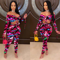 Sexy Printed Off Shoulder Two Piece Pants Set OYF-8212