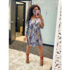 Fashion Off Shoulder Tie-dye Print Dress YF-9692