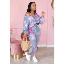 Casual Printed Long Sleeve Two Piece Pants Set OYF-8213