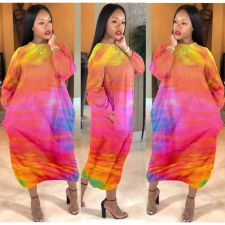 Plus Size 4XL Tie Dye Long Sleeve Loose Maxi Dress YFS-3537