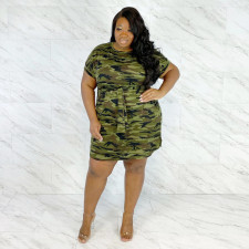 Plus Size 4XL Sexy Round Neck Short Sleeve Camouflage Print Dress ONY-5042