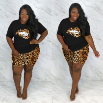Plus Size 5XL Leopard Lips Print Two Piece Shorts Set OSM2-4208