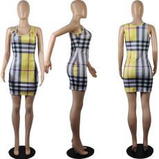 Classic Check Print Tank Top Mini Dress MIL-144