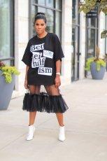 Letter Print Mesh Stitching T-shirt Dress MIL-146