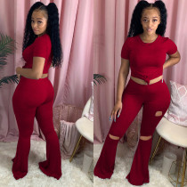 Sexy Skinny T-shirt Big Flared Ripped Pants Two Piece Set GS-1865