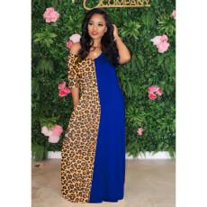Fashion Casual Leopard Print Stitching Long Dress MIL-143