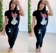 Casual Sequined Rabbit Two Piece Pants Set YWF-1811