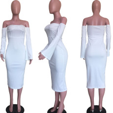 White Long Sleeve Slash Neck Slim Midi Dress ORY-5164