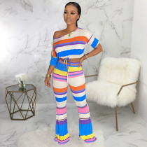 Colorful Striped Short Sleeve Flared Pants 2 Piece Sets SMR-9636