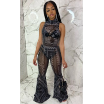 Sexy Mesh Printed Bodysuit Flared Pants 2 Piece Sets ASL-6290
