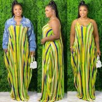 Colorful Striped V Neck Spaghetti Strap Loose Maxi Dress SMR-9661