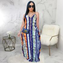 Sexy Striped V Neck Loose Slip Maxi Dress SMR-9662