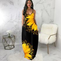 Sexy Flower Print Sleeveless Loose Maxi Slip Dress SMR-9673