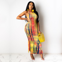 Fashion Sexy Sleeveless Tie-dye Long Dress YD-8264