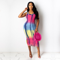 Fashion Sexy Sleeveless Tie-dye Midi Dress YD-8262
