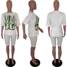 White Printed T Shirt Shorts Two Piece Suits HTF-6024