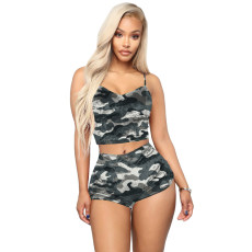 Camo Print Cami Top And Shorts Two Piece Suits HTF-6026