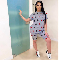 Casual Printed T Shirt Shorts Two Piece Sets HTF-6025