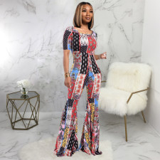 Casual Printed Short Sleeve Flared Jumpsuits SMR-9635