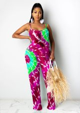 Plus Size 4XL Casual Sports Tie-dye Printed Jumpsuit MOY-5252