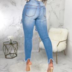 Denim Tassel Skinny Long Jeans Pants HSF-2313