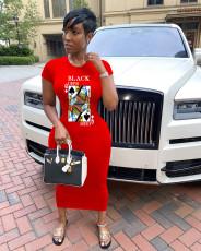 Poker Print Short Sleeve O Neck Slim Long Dress OM-1160