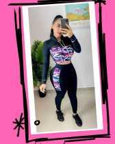 Camo Print Mesh Patchwork Hoodies Pants 2 Piece Suits BLX-7202