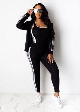 Casual Sportswear Tank Top+Coat+Pants 3 Piece Suits SFY-154