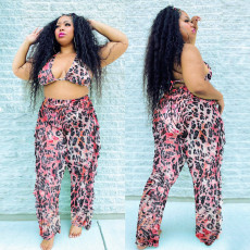 Plus Size Printed Bra Tops Ruffled Pants Sets With Briefs ONY-3592