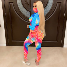 Tie Dye Long Sleeve Two Piece Pants Set Without Mask OLF-662