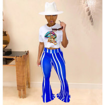 Casual Lip Print T-shirt Flared Pants Suit YIY-5204