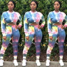 Tie Dye Print Long Sleeve Two Piece Pants Set SHA-6167