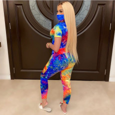 Plus Size 4XL Tie-dye Letter Printed T-shirt Pants Two Piece Set Without Mask YIY-5202