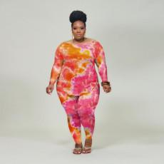 Plus Size Tie Dye Long Sleeve Two Piece Sets ONY-5050