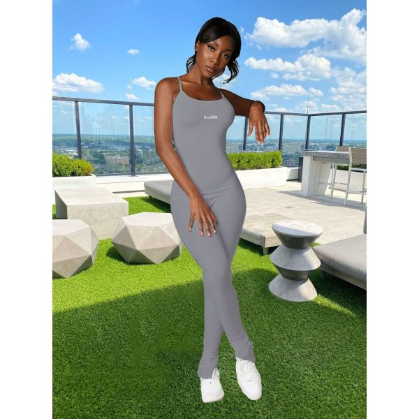 Simple Fashion Solid Color Skinny Letter Print Fitness Jumpsuit IV-8119