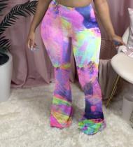 Plus Size 4XL Tie-dye Casual Slim Bell Bottom Pants BGN-099