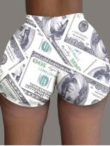 Plus Size Dollar Print Sexy Skinny Shorts BLI-2117
