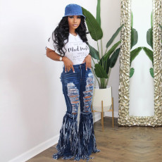 Denim Ripped Hole Tassel Long Flared Jeans SH-3840