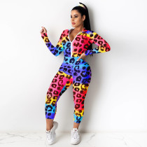 Fashion Printed Jacket Trousers Sports Two Piece Set YIY-5201