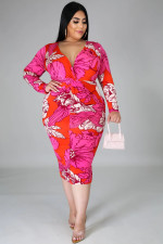 Plus Size 5XL Printed Long Sleeve Midi Dress BMF-014