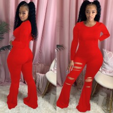 Plus Size Solid Long Sleeve Hole Flared Jumpsuits WUM-873