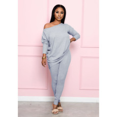 Casual Solid Long Sleeve Two Piece Pants Suit CH-8132