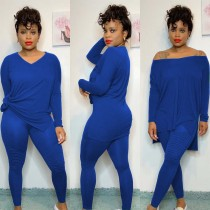 Solid Long Sleeve Casual Two Piece Pants Set AWN-5103