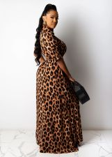 Plus Size Leopard Print Half Sleeve Maxi Dress MIL-148