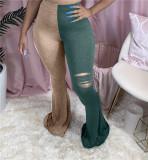 Plus Size 4XL Contrast Color Hole Skinny Flare Pants MUM-5049